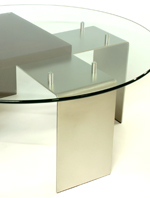 coffee table with walnut, stainless steel and glass